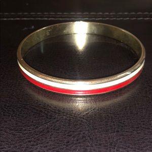 Vintage Red & Cream Enamel & Metal Bracelet